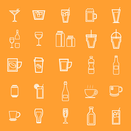Drink line icons on orange background, stock vector