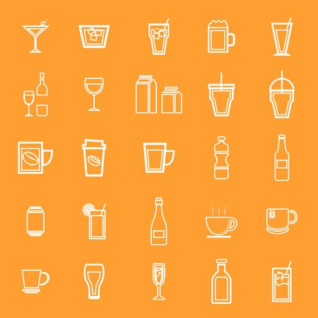 spirituous: Drink line icons on orange background, stock vector