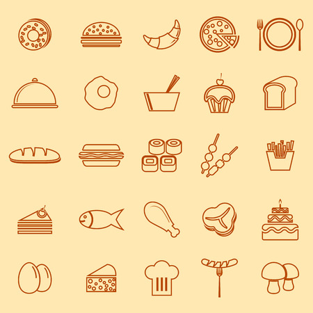 continental food: Food line icons on yellow background, stock vector