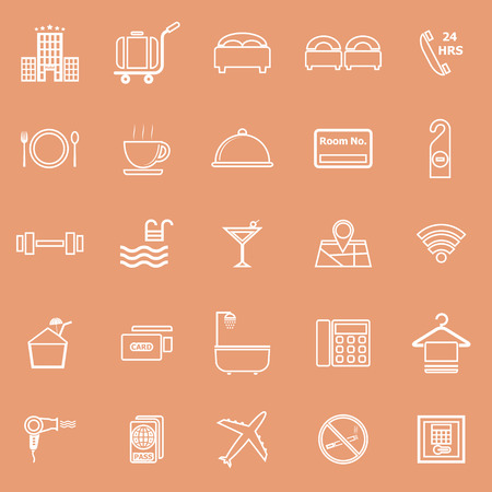Hotel line icons on orange background, stock vector Banco de Imagens - 41921073