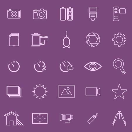 polarizing: Camera line icons on violet background, stock vector Illustration