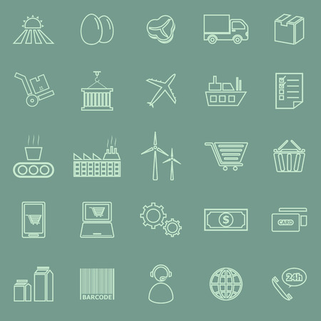 Supply chain line icons on green background, stock vector