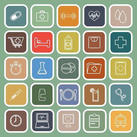 sleeping pills: Health line flat icons on green background, stock vector Illustration