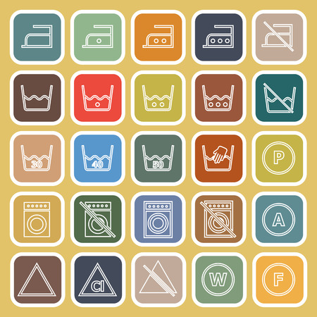 laundry line: L�nea de lavander�a iconos planos sobre fondo amarillo, stock de vectores Vectores