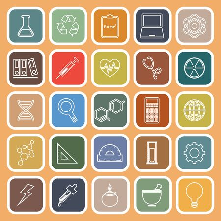 chemically: Science line flat icons on orange background, stock vector