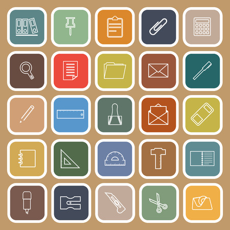 hilight: Stationery line flat icons on brown background, stock vector