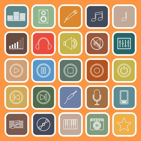 estudio de grabacion: l�nea M�sica iconos planos sobre fondo naranja, el vector stock