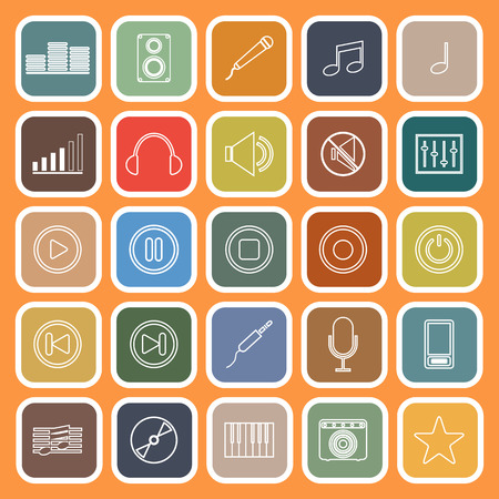 recording: Music line flat icons on orange background, stock vector