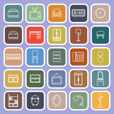 violet background: Bedroom line flat icons on violet background, stock vector Vettoriali