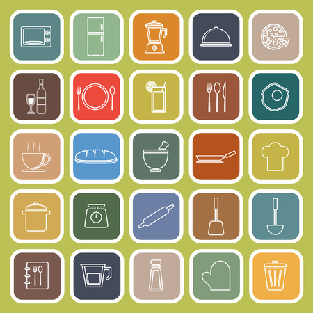continental food: Kitchen line flat icons on green background, stock vector Illustration