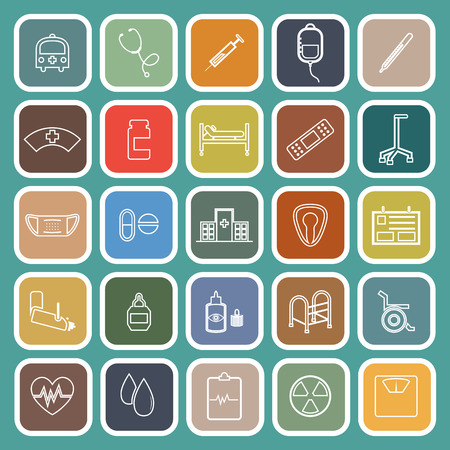 Hospital line flat icons on green background, stock vector