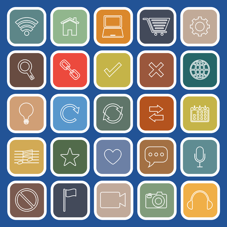 Web line flat icons on blue background, stock vector