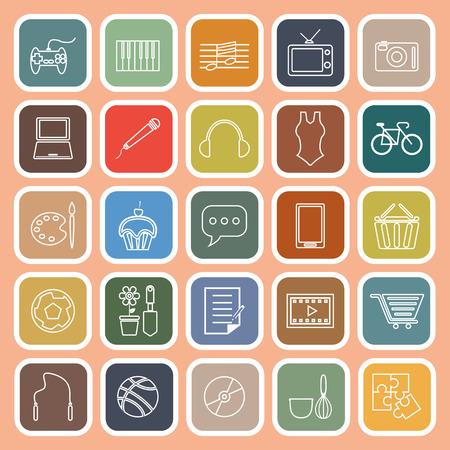Hobby line flat icons on orange background, stock vector