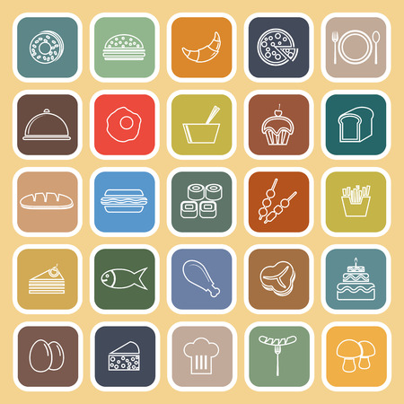 continental food: Food line flat icons on yellow background, stock vector