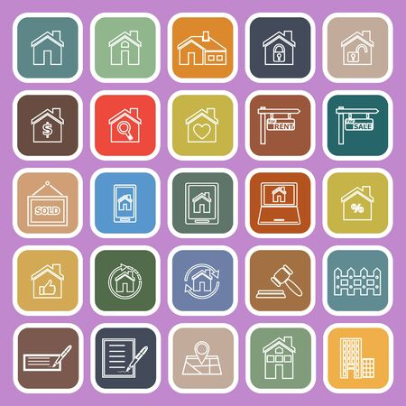 robberies: Real estate line flat icons on violet background, stock vector