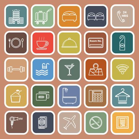 Hotel line flat icons on orange background, stock vector Ilustração