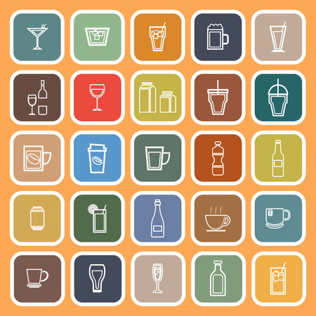 spirituous: Drink line flat icons on orange background, stock vector