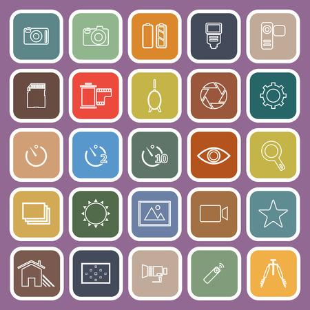 neutral density filter: Camera line flat icons on violet background, stock vector Illustration