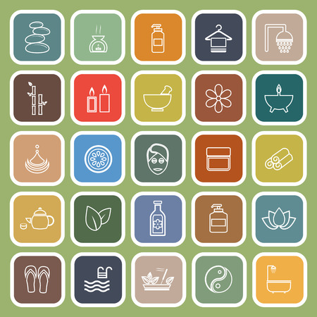 Spa line flat icons on green background, stock vector Illustration