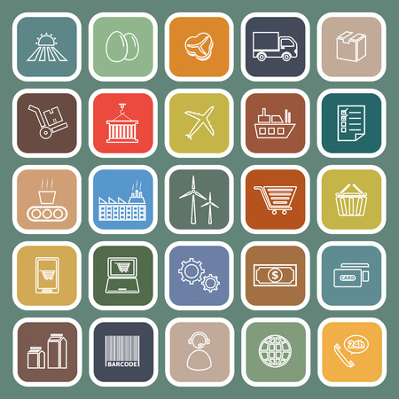 labor market: Supply chain line flat icons on green background, stock vector Illustration