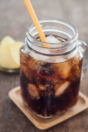 carbonation: Iced cola with potato chips, stock photo Stock Photo