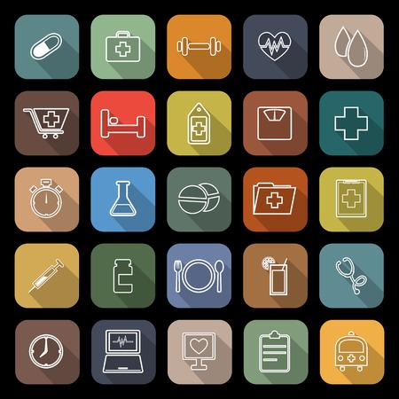 sleeping pills: Health line flat icons with long shadow