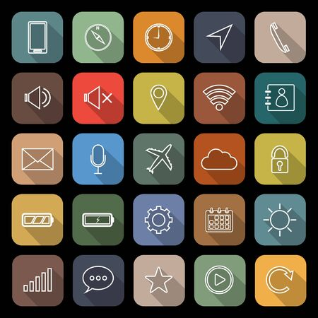 Mobile phone line flat icons with long shadow Stock Photo