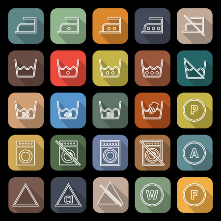 laundry line: Laundry line flat icons with long shadow
