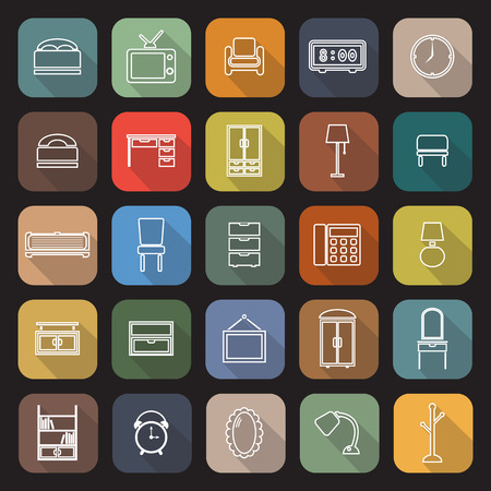 Bedroom line flat icons with long shadow Illustration