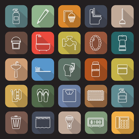 implements: Bathroom line flat icons with long shadow Illustration