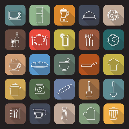 continental food: Kitchen line flat icons with long shadow