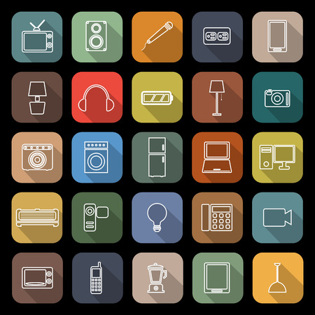 fridge lamp: Electrical machine line flat icons with long shadow