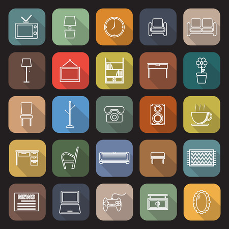 footstool: Living room line flat icons with long shadow