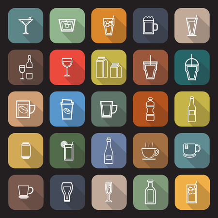 spirituous beverages: Drink line flat icons with long shadow, stock vector