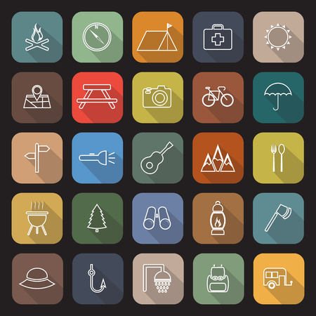 road cycling: Camping line flat icons with long shadow, stock vector Illustration