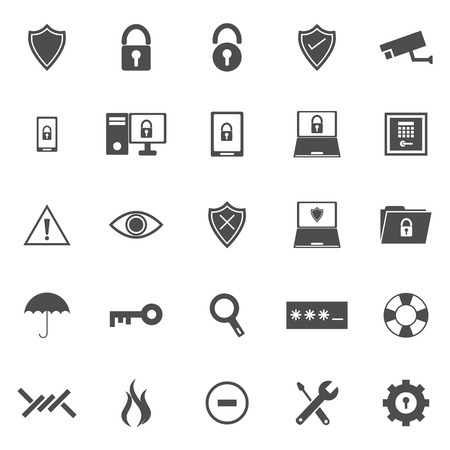 shielding: Security icons on white background, stock vector