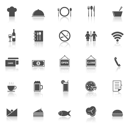 restaurant icons: Restaurant icons with reflect on white background, stock vector