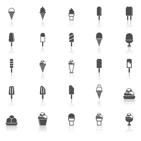 souffle: Ice cream icons with reflect on white background, stock vector Illustration