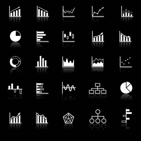reflect: Graph icons with reflect on black background, stock vector