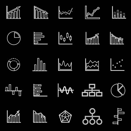 Graph line icons on black background, stock vector Illustration