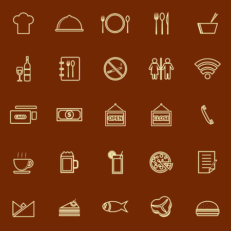 facture restaurant: Restaurant line color icons on brown background, stock vector Illustration