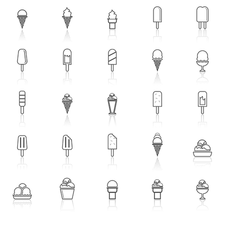 souffle: Ice cream line icons with reflect on white background, stock vector