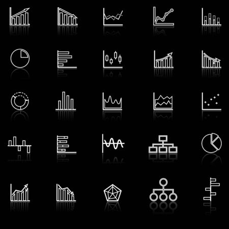 reflect: Graph line icons with reflect on black background, stock vector