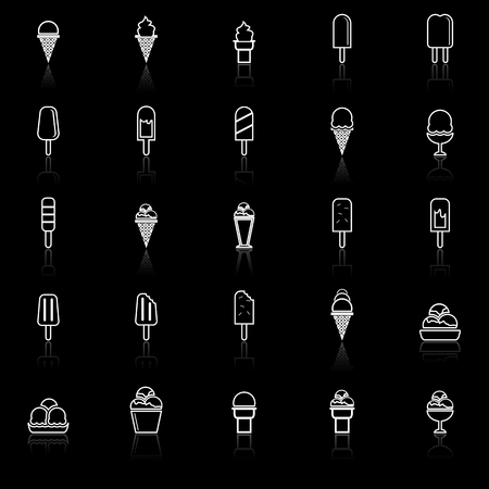 reflect: Ice cream line icons with reflect on black background, stock vector Illustration