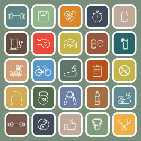 health and wellness: Fitness line flat icons on green background, stock vector