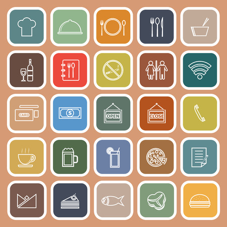 writing chair: Restaurant line flat icons on orange background, stock vector