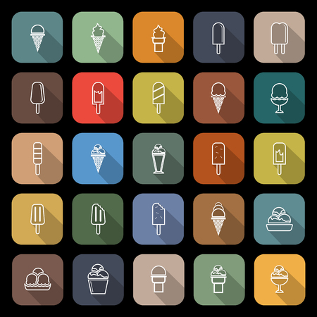 souffle: Ice cream line flat icons with long shadow, stock vector