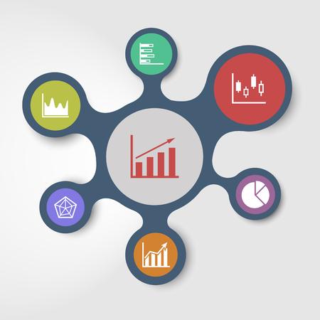 接続されたメタボール、株式ベクトルとビジネス インフォ グラフィック テンプレート