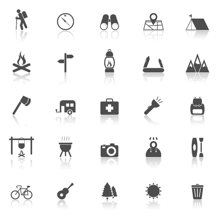 reflect: Trekking icons with reflect on white background, stock vector Illustration