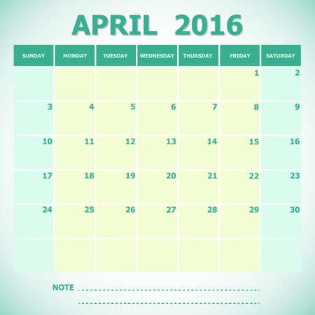 4월: Calendar April 2016 week starts Sunday, stock vector